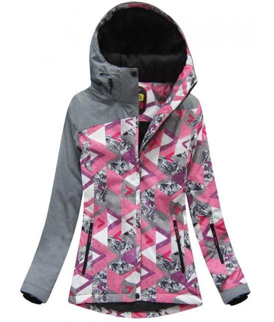 Dámska zimná bunda MODA181 šedo-ružová XL