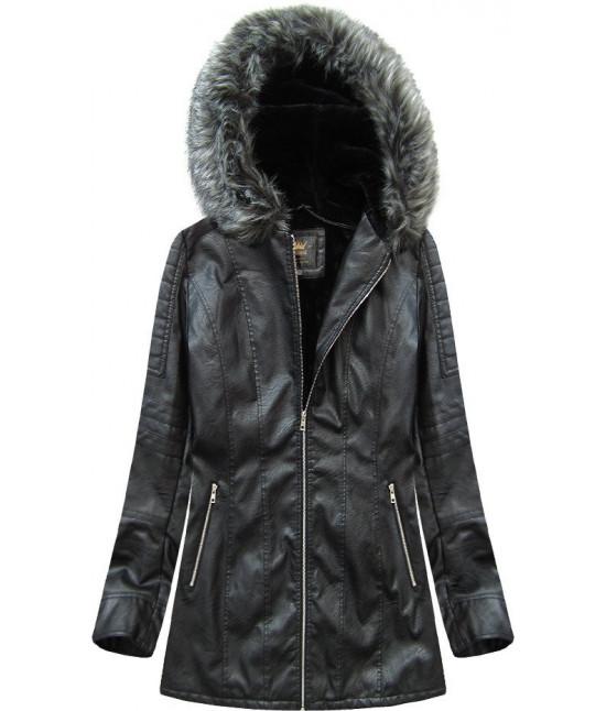 Dámska koženková zimná bunda MODA525BIG čierna 6XL