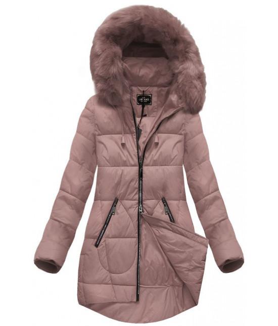 Dámska zimná bunda s kapucňou MODA703 staroružová veľkosť XL