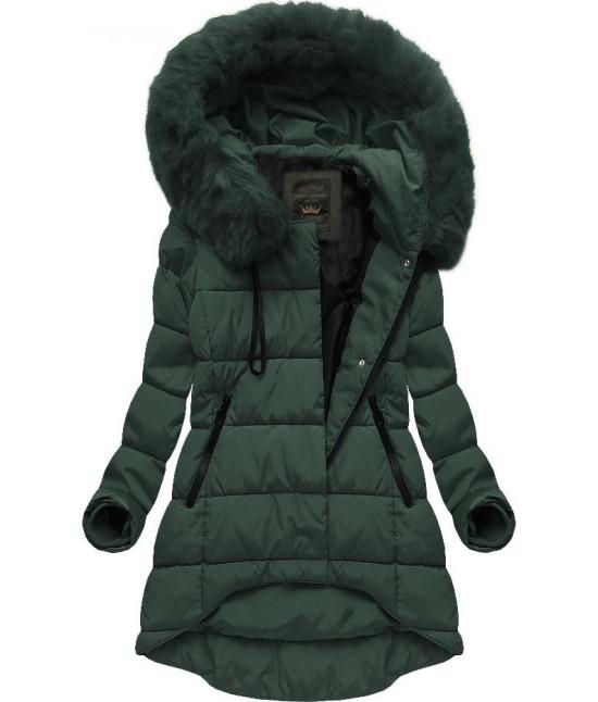 Asymetrická dámska zimná bunda MODA670 zelená veľkosť S