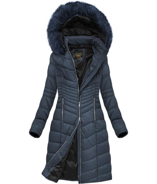 Prešívaná dámska zimná bunda MODA762BIG tmavomodrá 5XL