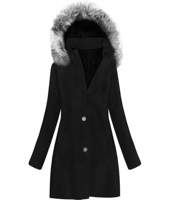 Dámsky bavlnený kabát MODA535 čierny