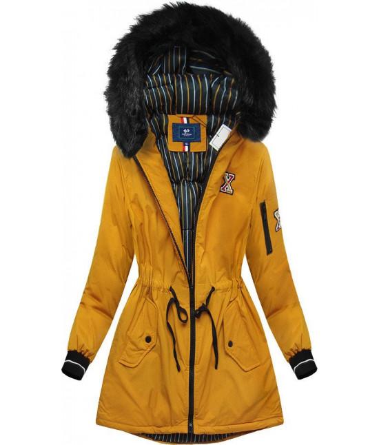Dámska zimná bunda MODA757 horčicová veľkosť L
