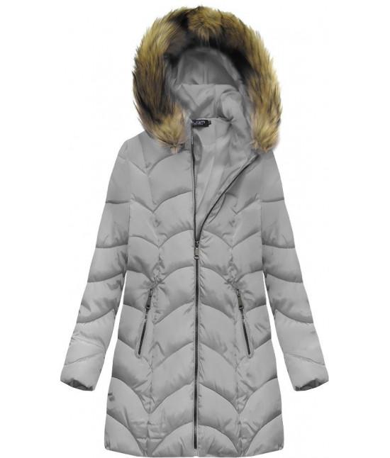 Dámska zimná bunda MODA1801BIG šedá veľkosť 6XL