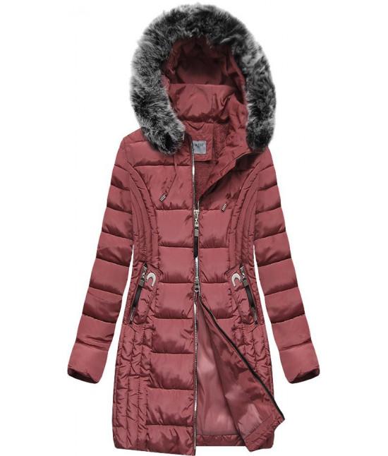 Prešívaná dámska zimná bunda MODA2619 ružová XL