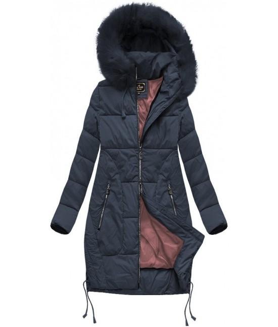 Dámska zimná bunda s kapucňou MODA690 tmavomodrá veľkosť M