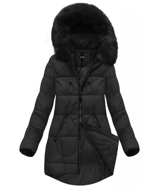 Dámska zimná bunda s kapucňou MODA703BIG čierna veľkosť 3XL