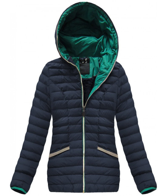 Krátka dámska zimná bunda MODA583 tmavomodrá veľkosť M
