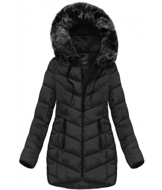 Dámska zimná bunda s kapucňou MODA039 čierna veľkosť S