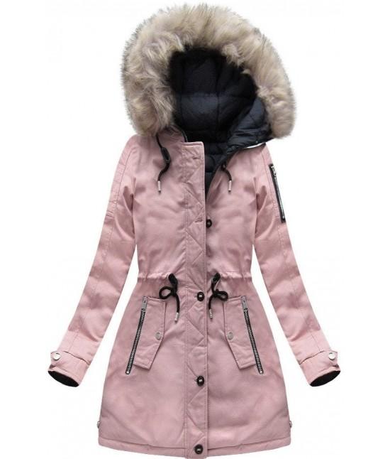 Dámska zimná obojstranná bunda parka MODA631 ružovo-modrá veľkosť M