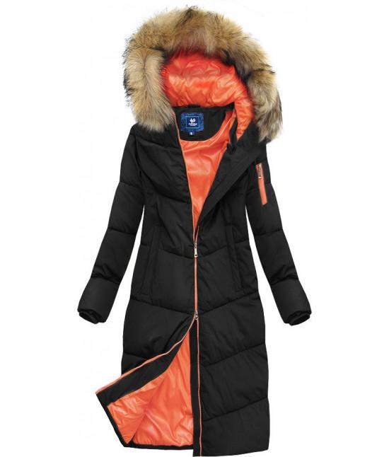 Dámska dlhá zimná bunda s kapucňou MODA007 čierna veľkosť L
