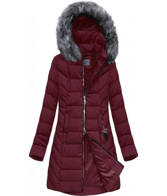 Dámska bunda zimná MODA645 bordová veľkosť XXL