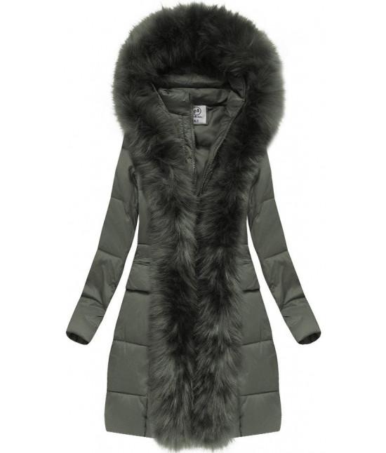 Dámska zimná bunda s kožušinou MODA222 khaki veľkosť S