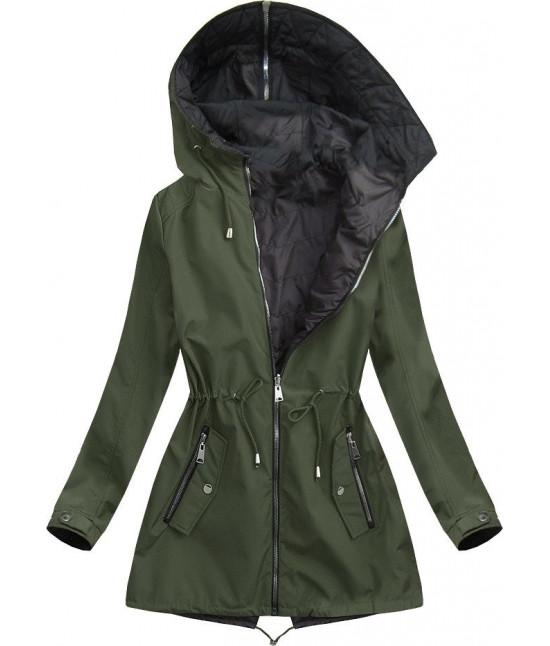 Dámska obojstranná jarná bunda s kapucňou MODA641BIG khaki