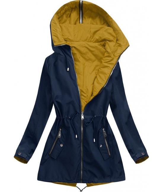 Dámska obojstranná jarná bunda s kapucňou MODA641BIG tmavomodrá