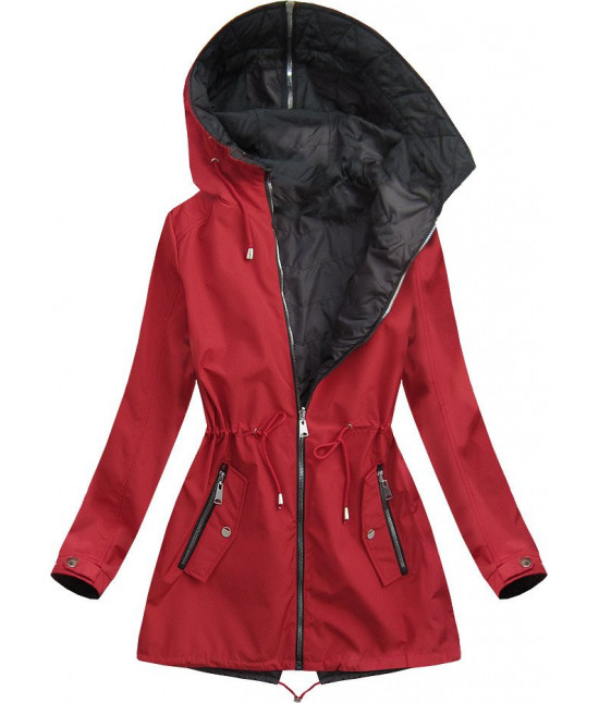 Dámska obojstranná jarná bunda s kapucňou MODA641BIG červená