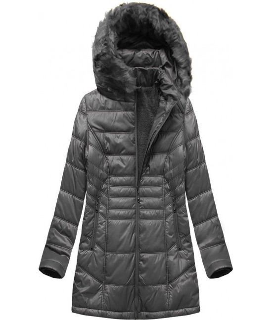 Prešívaná dámska zimná bunda MODA2617 tmavošedá 5XL