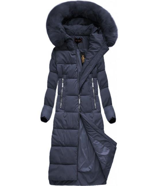 Dlhá dámska zimná bunda MODA688 tmavomodrá veľkosť S