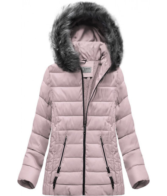 Prešívaná dámska zimná bunda MODA505 svetloružová veľkosť 4XL