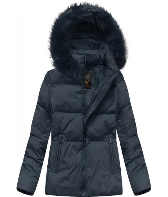 Dámska zimná bunda MODA694 tmavomodrá L