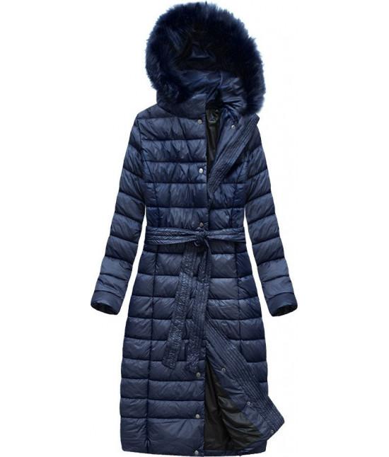 Dlhá dámska prešívaná zimná bunda MODA761 tmavomodrá XXL