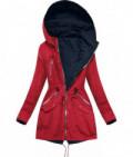 Dámska obojstranná jarná bunda MODA306 červeno-tmavomodrá