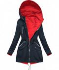 Dámska obojstranná jarná bunda MODA306 tmavomodro-červená