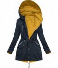 Dámska obojstranná jarná bunda MODA306 tmavomodro-žltá