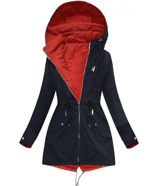 Dámska obojstranná jarná bunda MODA304BIG modro-červená