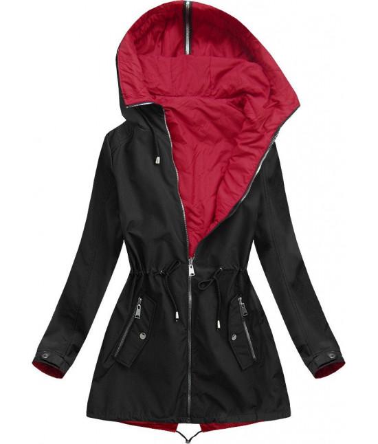 Dámska obojstranná jarná bunda s kapucňou MODA641BIG čierna veľkosť 6XL