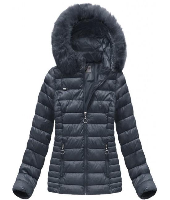 Dámska prešívaná zimná bunda MODA033 tmavomodrá veľkosť XL