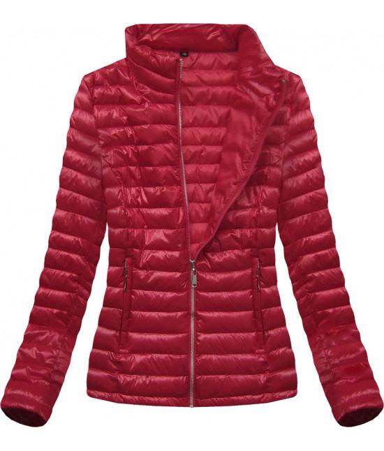 Lesklá dámska jarná bunda MODA677 červená veľkosť 4XL