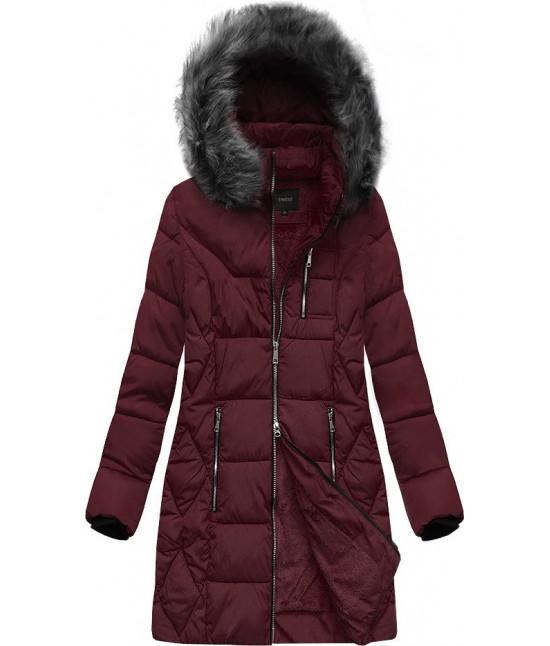 Dámska zimná bunda MODA902 bordová veľkosť 6XL