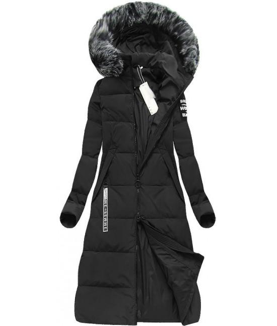 8cedbf28c Dámska dlhá zimná bunda MODA078 čierna - Dámske oblečenie | jejmoda.sk