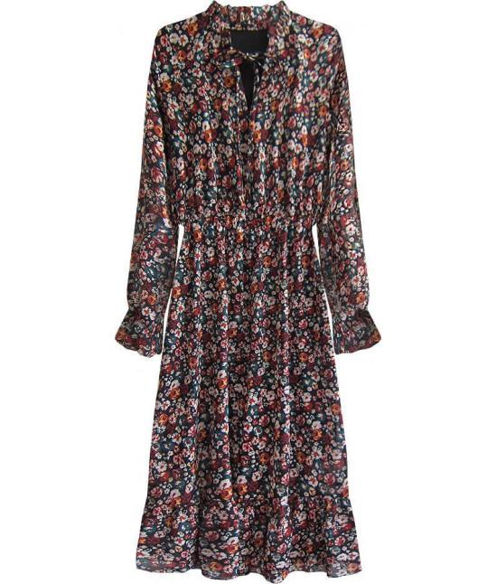 Dámske kvetované šaty MODA562 čierne
