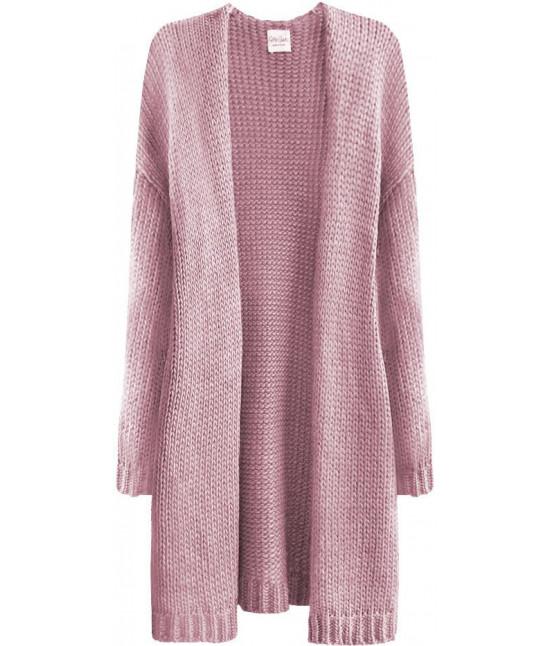 Teplý dámsky sveter MODA559 pudrovoružový