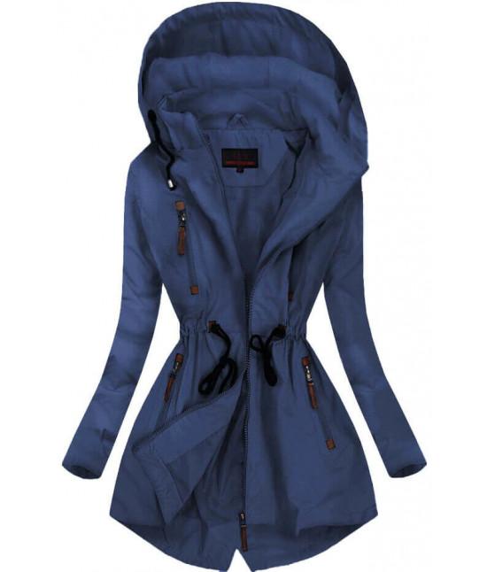 Dámska jarná bunda typu parka MODA028 tmavomodrá