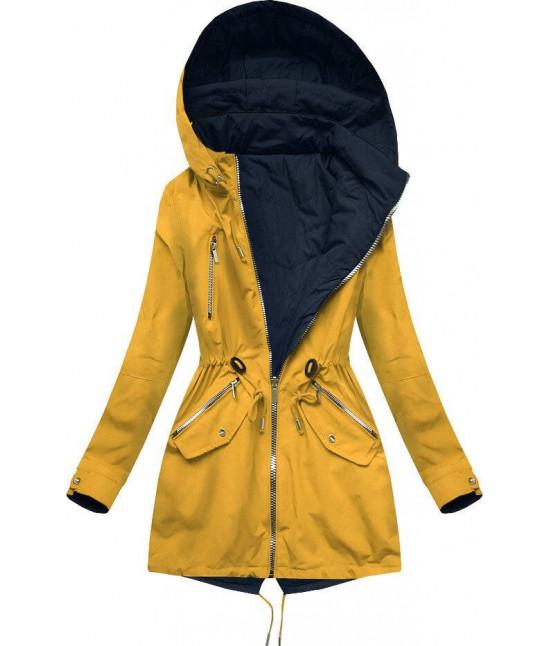 Dámska obojstranná jarná bunda MODA306BIG žlto-tmavomodrá