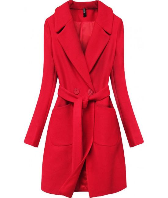 Dámsky jarný kabát s opaskom MODA708 červený