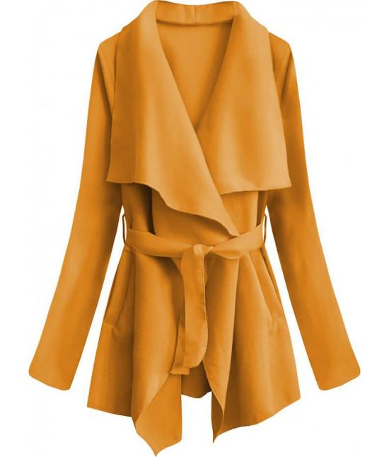 Dámsky jarný plášť MODA553 horčicový