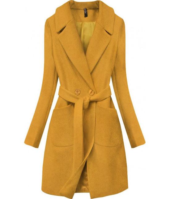 Dámsky jarný kabát s opaskom MODA708 horčicový