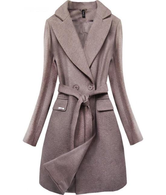 Dámsky elegantný kabát MODA717 svetlohnedý