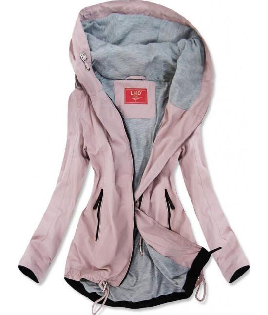 Ľahká dámska jarná bunda typu parka MODA201 ružová