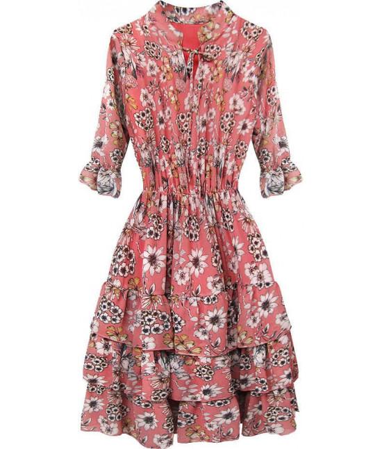 Dámske šifónové šaty MOD579 ružové