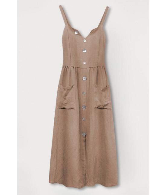 Dámske šaty s vreckami MODA582 béžové