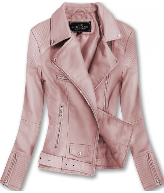 Dámska koženková bunda MODA377 ružová