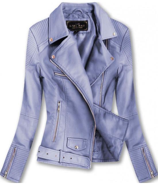 Dámska koženková bunda MODA377 fialová
