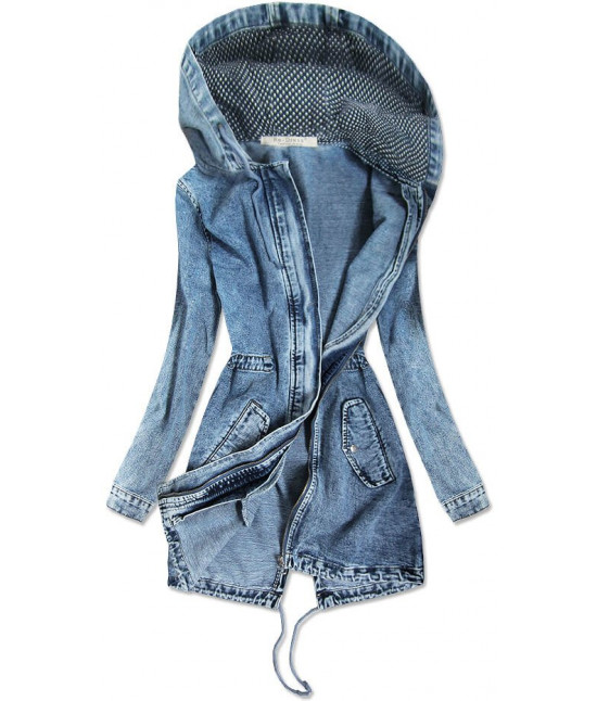 Dlhá dámska jeansová bunda s kapucňou MODA122