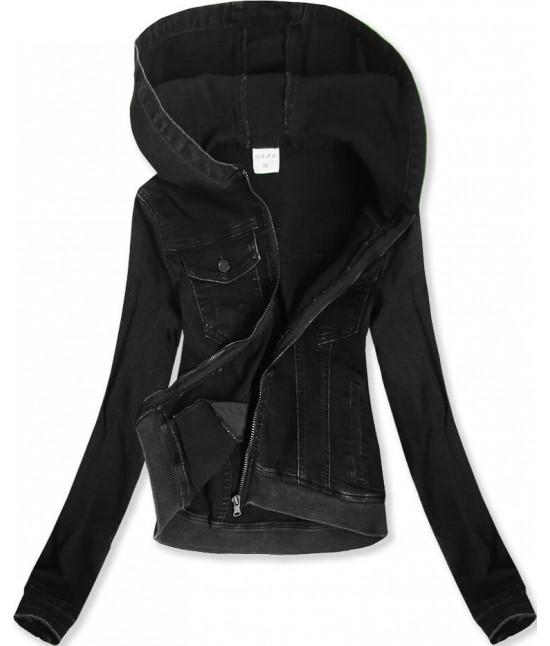 Krátka jeansová bunda s kapucňou MODA582 čierna