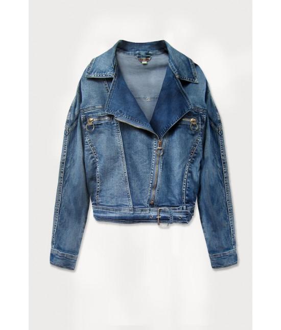 Krátka dámska jeansová bunda oversize MODA055 modrá